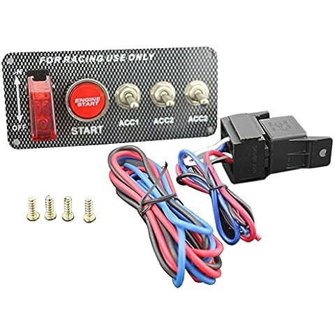 Fibra de Carbono encendido Arranque del Motor Empuje botón de arranque Panel Toggle Interruptor ON/OFF LED rojo Toggle Racing Car vehículo auto 12V