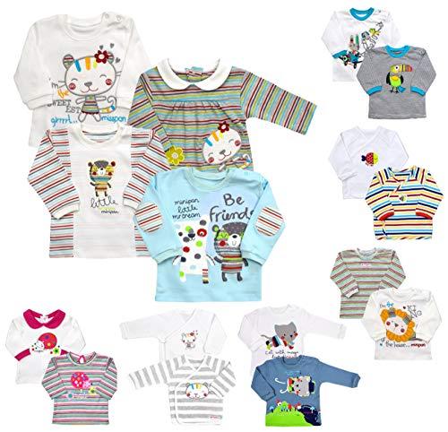 Baby Langarmshirts 2er Pack Mädchen Jungen Oberteile Wickeloberteile Pullover Neugeborenen Wickelshirts Sweatshirts Bekleidung (62-68, 2er Pack Jungen (L 0003))