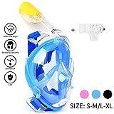 Maschera da Snorkel / Maschera per Snorkeling--easybreath maschera subacquea snorkeling/ immersioni/nuoto--180 gradi panoramici--Full Face Design di Respirazione Libera--maschere subacquee--Più anti-nebbia e anti-perdita-- Inserimento di 2 tubi respiratori-- Tappi per le orecchie incorporato e Previene il Gag Reflex (Blue, L-XL)