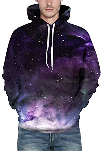 Bettydom Herren Galaxy Stil Unisex Slim Langarm Casual Wear Mann Sweatshirt Kapuzenpullover Hoodies Purpur Galaxy