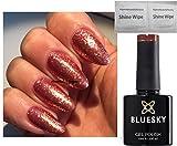 BLUESKY Crystal Sienna SJ17Glitzernagellack, Bronze / Roségold, feine Glitzerpartikel, Gel-Nagellack, UV/LED/Soak Off, inkl. 2LuvliNail-Glanztücher