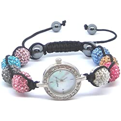 Diamante Rimmed Circular White Faced Multicoloured Shamballa Style Black Cord Sliding Knot Watch