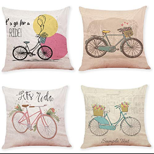Hfudgj Kreative Blume Fahrrad Baumwolle und leinen Baumwolle Kissenbezug Sofa Bett Sofa Kissenbezug dekorative Hause matratze 45X45 cm, 4 sätze,B - Blume-bett-satz