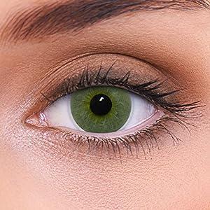 """Stark deckende natürliche grüne Kontaktlinsen farbig """"Platinum Green"""" + Behälter von LENZOTICA I 1 Paar (2 Stück) I DIA 14.00 I ohne und mit Stärke"""