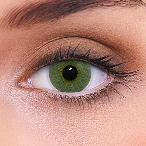"""Stark deckende natürliche grüne Kontaktlinsen farbig \""""Platinum Green\"""" + Behälter von LENZOTICA I 1 Paar (2 Stück) I DIA 14.00 I mit Stärke I -4.25 Dioptrien"""
