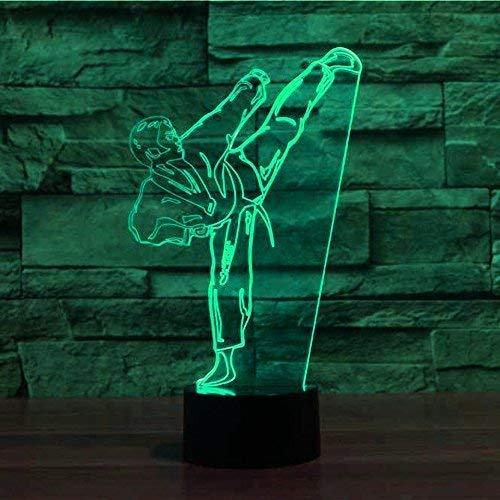 Creativo 3D Taekwondo Luz de Noche 7 Colores que Cambian USB Poder Touch Switch Ilusión óptica Decor Lámpara LED Mesa Lámpara Niños Juguetes Cumpleaños Navidad Regalo