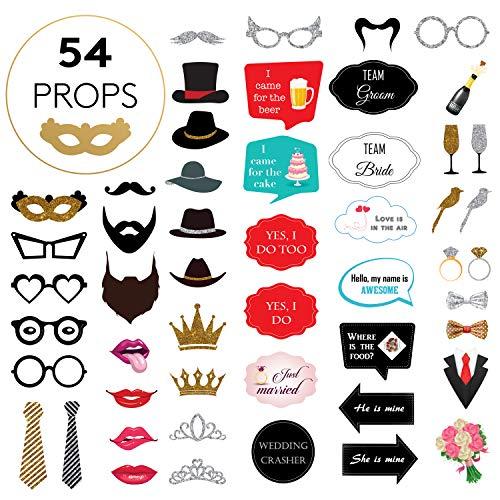 Photo Booth Hochzeit Set inkl. Anleitung - 54 komplett zusammengebaute Fotobox Requisiten - Non-DIY Fotorequisiten für Hochzeit, Geburtstage und Junggesellinnenabschied ()