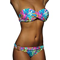 ALZORA Push Up Front Twist Bikini in Bunt Blumen Geblümt Bandeau Top Set Damen Pushup Badeanzug , 20095