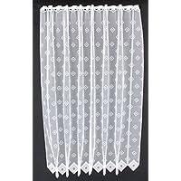Cortina de media altura cuadrados altura 150 cm | Ancho de la cortina seleccionable por la cantidad comprada en pasos de 11,5 cm | Color: Blanco | Cortinas cocina