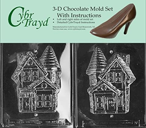 Cybrtrayd H097AB Chocolate Candy Mold, Includes 3D Chocolate Molds Instructions and 2-Mold Kit, Haunted House