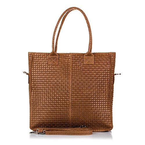 FIRENZE ARTEGIANI.Bolso Shopping Bag de Mujer Piel auténtica.Bolso Cuero Genuino,Piel Grabado...
