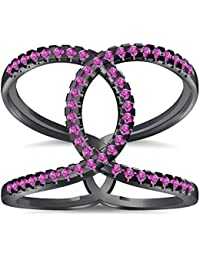 Silvernshine Halo Twist Pink Sapphire CZ Diamond Engagement Ring 14k Black Gold PL Bridal Ring