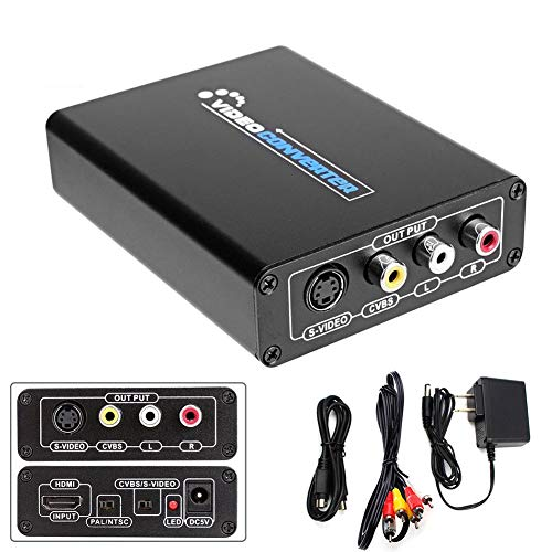 Hihey HDMI Audio Konverter L Audio zu Hdmi Konverter Adapter HDMI zu R/L Stereo Audio CVBS oder S Video Signalumsetzer Adapter 1080P S-video, Stereo Audio