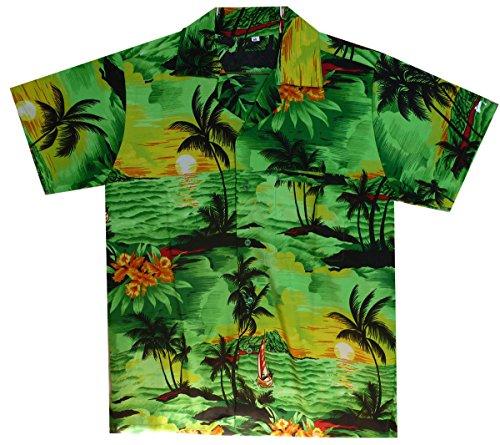 Funky Camisa Hawaiana, Surf, green, L