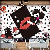 Rureng Foto Wallpaper European American Cartoon Illustratore Costume Negozio Ristorante Casual Poker Sfondo Muro Murale Carta Da Parati-120X100Cm