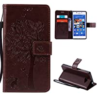 Sony Xperia M2 Case,Skin Durable Protective Case Premium PU Leather Wallet Case Durable Protective Case with Kickstand and Credit Card Slot Cash Holder Flip Cover for Sony Xperia M2 Coffee