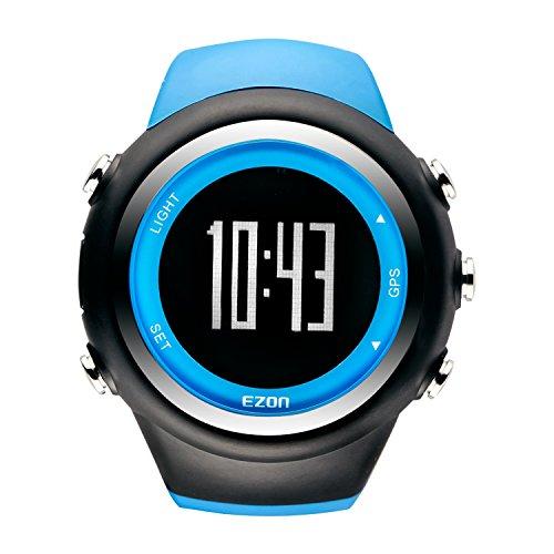 EZON T031A03 GPS Sportuhr für Männer und Frauen Outdoor Freizeit Laufen Digital Armbanduhren mit Kalorienzähler, Pace Erinnerung, Alarm und Stoppuhr