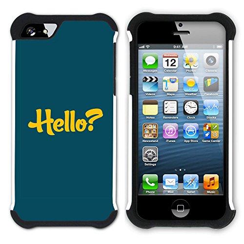 Graphic4You Hello? Englisch Zitat Nachricht Hart + Weiche Kratzfeste Hülle Case Schale Tasche Schutzhülle für Apple iPhone SE / 5 / 5S Design #12