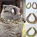 QINCH Schönes und schönes Geschenk 36cm / 45cm einstellbar Hundekatze Punk Kette Kragen führen breite Halskette Haustier Zubehör - golden 36cm (Color : Golden-45cm)