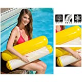 Forberesten Summer PVC Floating Water Hammock Float Lounger Inflatable Floating Bed Beach Swimming Pool Lounge Float Bed Chair Kids Adults (Yellow)