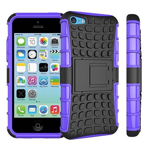 Apple iPhone 5c Coque, SsHhUu Dure Heavy Duty Réduction de Vibration Couverture Double Couche Armure Combo avec Kickstand Protecteur Étui Coque pour iPhone 5c 4.0 Pouce (Bleu) Pourpre