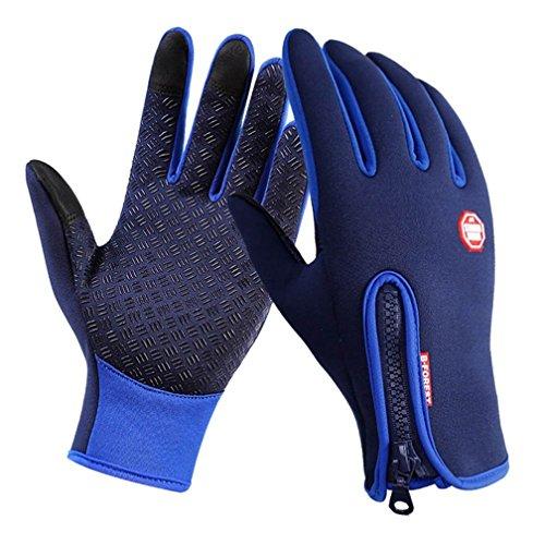 Guanti invernali touchscreen outdoor, guanti touch screen per uomo e donna guanti caldi esterni di inverno con silicone antiscivolo per ciclismo alpinismo escursionismo outdoor (blu, x-large)