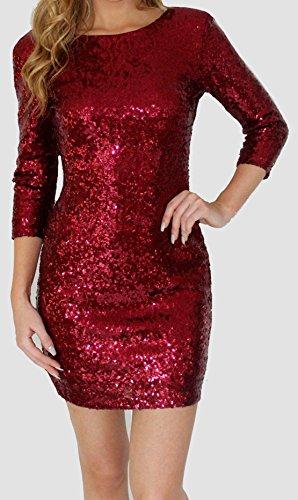 Donna Maniche Lunghe Sexy Dress Elegante Matita Vestiti a Paillettes da Sera Partito Cerimonia Abito Festa di Natale Schiena Nuda Mini Vestito Rosso