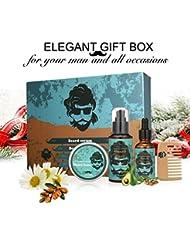 Soins de Barbe, Y.F.M, Kit d'entretien de Barbe, Baume à barbe. Ce kit Comprend: Shampooing Barbe+Huile à barbe+Baume barbe+Peigne à barbe, Cadeau idéal pour l'Anniversaire ou Noël de Papa ou du mari