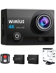 Camaras Deporte 4K WiMiUS Q3 WIFI Ultra HD Impermeable DV Videocámara 16MP 170 Grados gran Angular 2 Pulgadas LCD Screen / 2.4G control Remoto / 2 Baterías Recargables-Negro