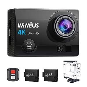 Action Cam, WiMiUS Fotocamera Subacquea 4k HD 16MP Action Camera WIFI, Videocamera Impermeabile con Telecomando 2.4G + 2 Batterie + 25 accessori (Nero)