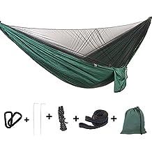 Bwiv Hamaca Ultraligera para Viaje y Camping Hamacas Colgantes Mosquiteras de Nylon Portátil Paracaídas Secado Rápido
