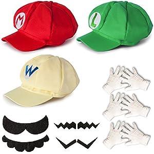 Katara Disfraz Super Mario, Luigi, Wario, Cosplay, Adultos/Niños, Set De 3 Gorras, 4 Bigotes, 3 Guantes