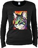 Damen Langarmshirt mit Motiv: Curiosity Cat - Katzenmotiv - Geschenk - Pullover, Pulli - Farbe: schwarz