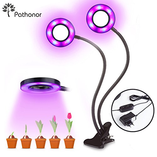 Pathonor Lamparas de Crecimiento LED Lampara para Plantas Doble Cabeza Dos interruptores...