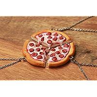 Pizza Freundschaft Halskette 2,3,4,5 oder 6 Freunde- Lebensmittel Schmuck, Pizza Halskette, Bff Halskette, Friends Halskette, Freundschaft Halskette