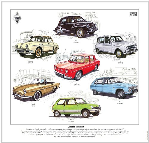 Classic Renault Print --- 4CV, Dauphine, R4, Floride,, used for sale  Delivered anywhere in UK