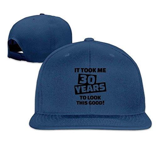 Unisex 30th Birthday Word Design Algodón Snapback Hip Hop Sombreros de Lengua Plana Gorras de béisbol Ajustables Sombrero Blanco DIY 26015