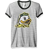 NCAA Oregon Ducks Women's Tri-Blend Retro Stripe Ringer Shirt, Small, Forest