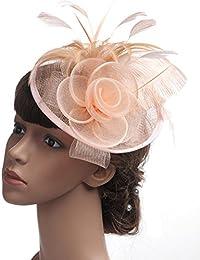 Fascinators Hat Feather Headwear Festa delle Donne Cappello Feather e Mesh  Hair Fascinator Fascia Wedding Royal Ascot Races per… 4bd1896d0008