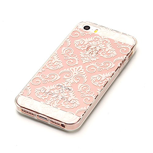 Custodia iPhone 5S, iPhone SE Cover Silicone Trasparente, SainCat Custodia in Morbida TPU Protettiva Cover per iPhone 5/5S/SE, 3D Creative Design Transparent Silicone Case Ultra Slim Sottile Morbida T Fiori di Pizzo Bianchi