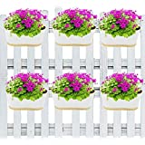 ecofynd® 12 inches Balcony Railing Planter with Detachable Handle, Color - White, Set of 6