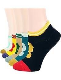 RioRiva Socquette Femme Fille Chaussette Basse Décontracté à Rayures Coton Peigné chaussettes de sport femme
