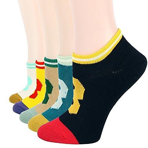 RioRiva Femme Socquette Invisible d'été Cheville Coton Peigné Socquette Basse à Rayures lot de 5 paires (WSK53)