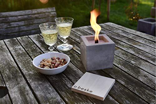 Beske-Betonfeuer mit \'Dauerdocht\' | Größe 10x10x10 cm | Wiederbefüllbare Gartenfackel | \'Unendliche\' Brenndauer durch umweltfreundliches Recycling von Kerzenwachs
