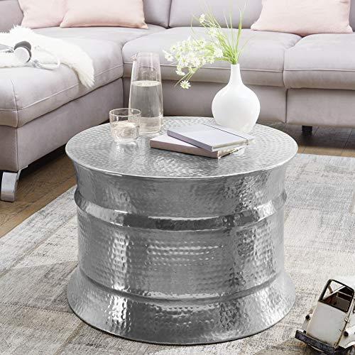 FineBuy Couchtisch KAREM 62x41x62cm Aluminium Silber Beistelltisch orientalisch rund   Flacher Hammerschlag Sofatisch Metall   Design Wohnzimmertisch modern   Loungetisch indisch Stubentisch klein