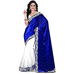 Sarees for women party wear Designer Today best offers buy online in Low Price Sale Blue & White Color Velvet Russel Net Fabric Free Size Ladies Sari