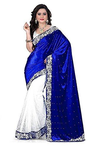 Rensil Women's Velvet & Russel Net Saree With Blouse Piece (Rsbluevelvet Saree_Blue & White)