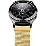 Generic 20mm Acero Inoxidable Watch Band para Samsung Gear S2 Classic, Moda Durable Milanese Banda Muñeca Correa de Reloj Reemplazo Reloj Muñeca Band Watchband Strap Watchband con Magnético Hebilla para Samsung Gear S2 Classic con Connector - Oro(No incluido Watch)