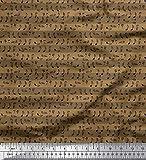 Soimoi Braun Rayon Krepp Stoff Streifen & Noten Hemdenstoff
