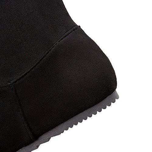 VogueZone009 Femme à Talon Bas Haut Élevé Couleur Unie Tire Bottes Noir